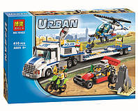Аналог Лего Сити Bela URBAN 10422, 410 деталей, фургон, вертолет, багги, мотоцикл, скала, 4 фигурки