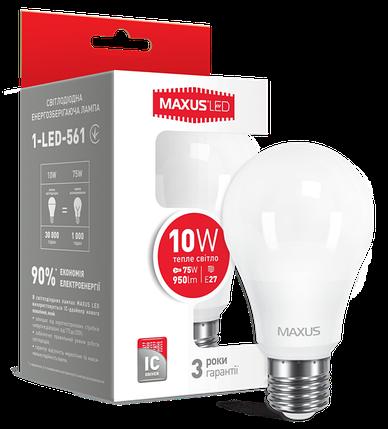 Светодиодная лампа Maxus 561 A60 10W 3000K 220V E27 Код.52764, фото 2
