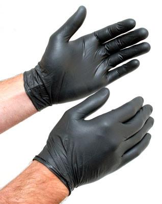 Перчатки черные нитриловые усиленные для внешних работ