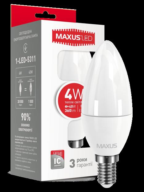 Светодиодная лампа Maxus 5311 С37 4W 3000K E14 220V Код.53584
