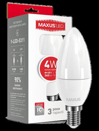 Светодиодная лампа Maxus 5311 С37 4W 3000K E14 220V Код.53584, фото 2