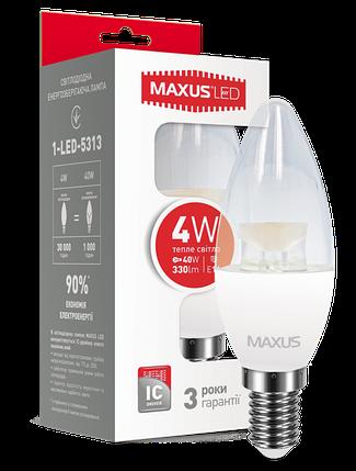 Светодиодная лампа Maxus 5313 С37 4W 3000K E14 220V Код.54537, фото 2