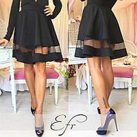 Черная короткая юбка со вставкой из фатина. Арт-8651/70