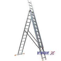 Лестница-стремянка 3х14 КРОК, алюминиевая, фото 1