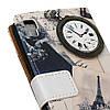 Чехол книжка для LG X Power K220DS боковой с отсеком для визиток, Эйфелева башня и часы, фото 3