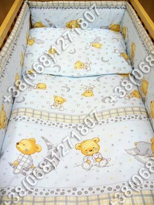 """Детское постельное белье в кроватку """"Карапуз"""" комплект 6 ед. (мишка на месяце голубой), фото 2"""