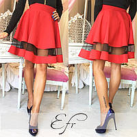 Красная короткая юбка со вставкой из фатина. Арт-8651/70