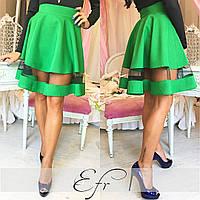 Зеленая короткая юбка со вставкой из фатина. Арт-8651/70