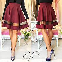 Бордовая короткая юбка со вставкой из фатина. Арт-8651/70