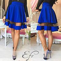 Короткая юбка со вставкой из фатина, цвет электрик. Арт-8651/70