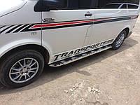 Volkswagen T5 Transporter 2003-2010 гг. Боковые площадки Vison (2 шт., алюминий + нерж) Длинная база