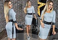 Короткое женское платье с вставками эко кожи