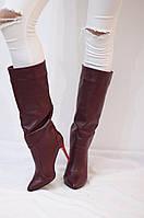 Женские зимние ботфорты на шпильке от TroisRois из натуральной турецкой кожи