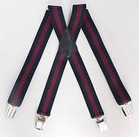Широкие мужские подтяжки Paolo Udini черно-бордовые, фото 1