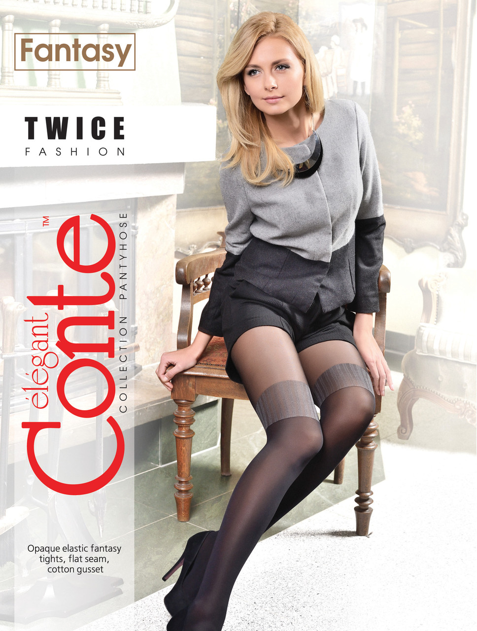 Колготки жіночі Conte Fantasy Twice 50 Den (Конте Фентезі Твайс 50 ден), розмір 2-4, Білорусія