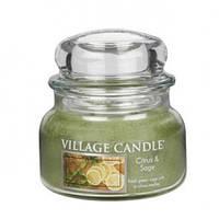 """Ароматическая свеча в стекле Village Candle """"Лимон-Шалфей"""". 315 гр/ 55 часов"""