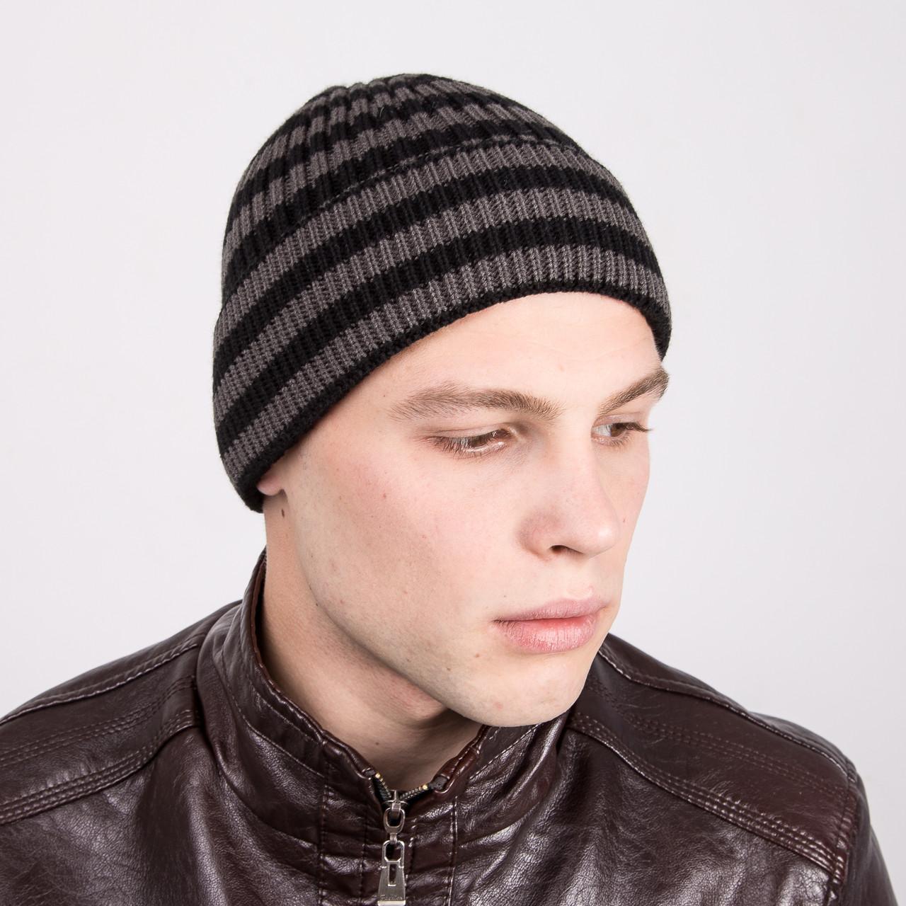 Зимняя вязаная мужская шапка в полоску - Артикул m1a
