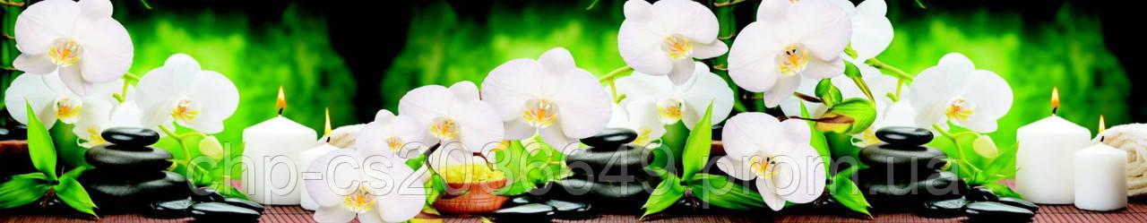 Стеклянный фартук для кухни - скинали Орхидеи Свечи
