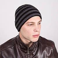 Зимняя вязаная мужская шапка в полоску - Артикул m1с