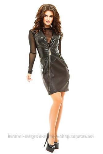 Платье женское на молнии экокожа