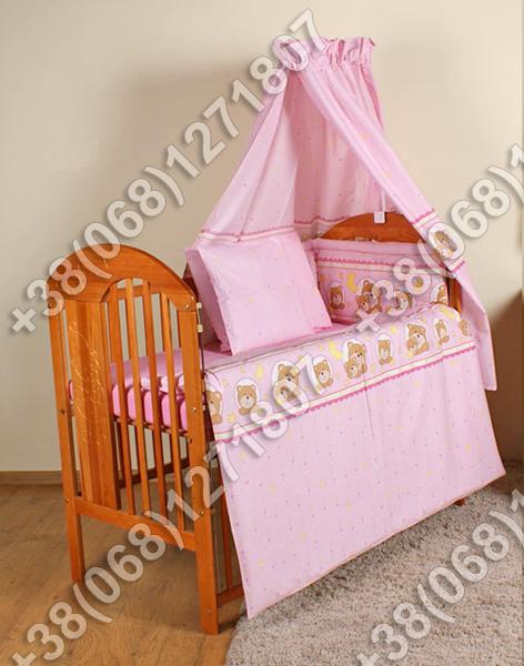 """Детское постельное белье в кроватку """"Карапуз"""" комплект 5 ед. (мишка в круге розовый)"""