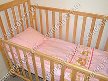"""Детское постельное белье в кроватку """"Карапуз"""" комплект 5 ед. (мишка в круге розовый), фото 3"""