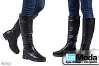 Удобные женские сапоги Vika Black из экокожи на искусственном меху без декоративных элементов черные