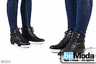 Удобные женские ботинки JIULAI Black&White на искусственном меху из качественной экокожи с белыми вставками на подошве черные