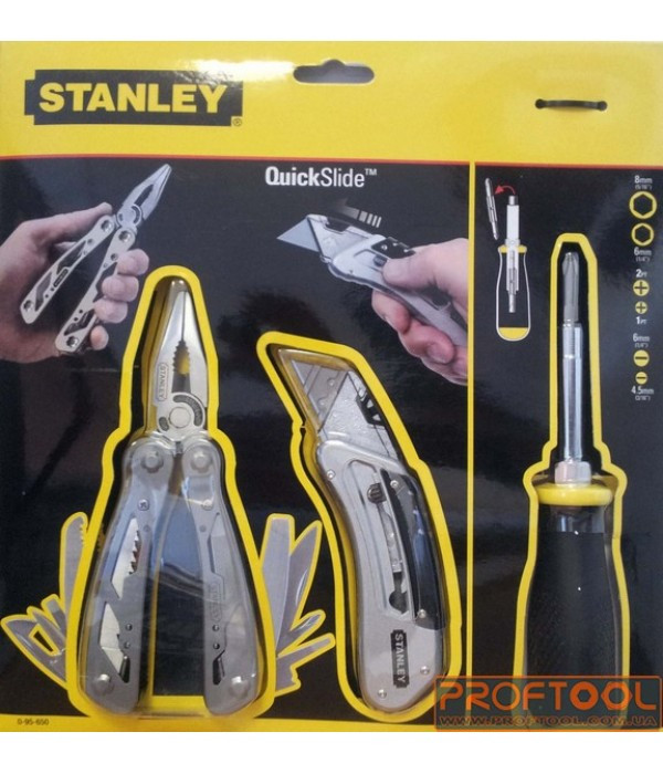 """Мультиинструмент + отвертка (4 насадки """"Dynagrip"""") + выдвижной нож в комплекте  STANLEY 0-95-650"""