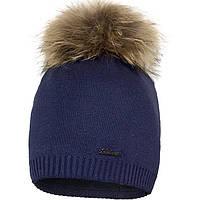 Зимняя шапочка с помпоном из меха енота для девочки