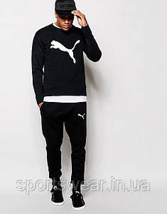 Мужской  чёрный спортивный костюм Puma большое лого