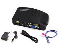 Преобразователь аналогового телевизионного сигнала AV RCA S-video в VGA видео конвертер конвертор