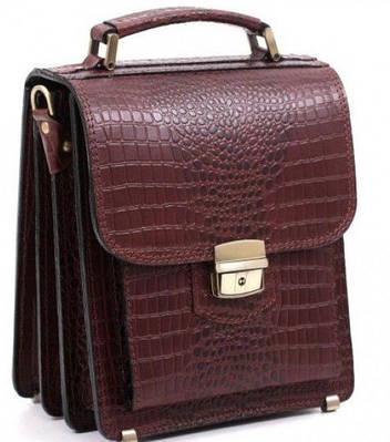 Кожаная сумка планшет СПБ-1 коричневая крокко