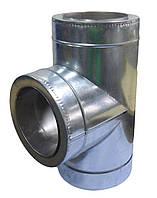Тройник 90° изолированного дымохода в кожухе из оцинкованной стали  130/200