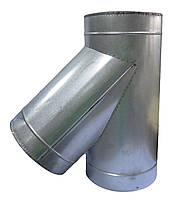 Тройник 45° изолированного дымохода в кожухе из оцинкованной стали  100/160
