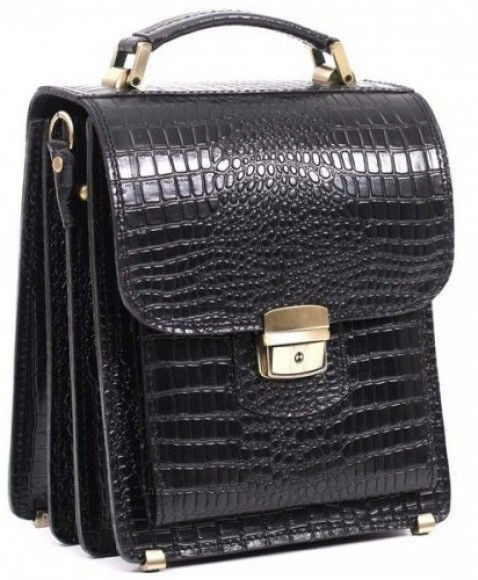 Кожаная сумка планшет СПБ-1 черный крокко