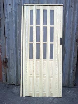 Дверь гармошка полуостекленные 860х2030х12мм сосна 7012 , Днепр, фото 2