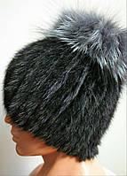 Удобная женская шапка из меха песца с чернобуркой 0700