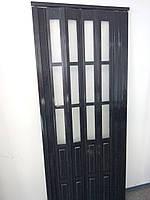 Дверь гармошка полуостекленная черное дерево 685