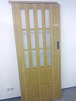Дверь гармошка полуостекленная межкомнатная дуб золотой 6103