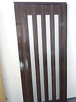 Дверь гармошка остекленная орех 7103 серебро