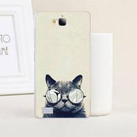 Силиконовый чехол бампер для Huawei Honor 3C с картинкой Кот в очках