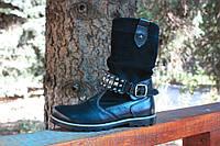 Сапожки кожаные с замшевыми вставками прошитые на флисе с ремешками 31р.