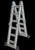 Лестница трансформер 4 ступени/4 секции (Н 4.75м; 14кг) алюминиевая TECHNICS