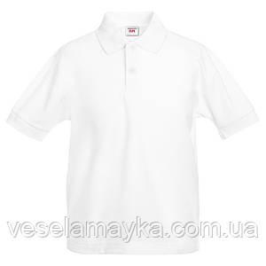 Детская белая футболка поло (Премиум)