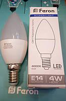 Светодиодная лампа (свеча С37) Feron LB-720 E14 4W 4000K  для общего и декоративного освещения