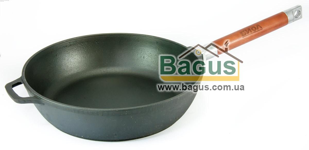 Сковорода чугунная литая глубокая 26х6,5см с деревянной съемной ручкой, посуда чугунная Биол 0326