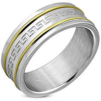 Мужское кольцо из стали и с греческим орнаментом, в наличии 18.0, 19.0, 20.0, 20.7