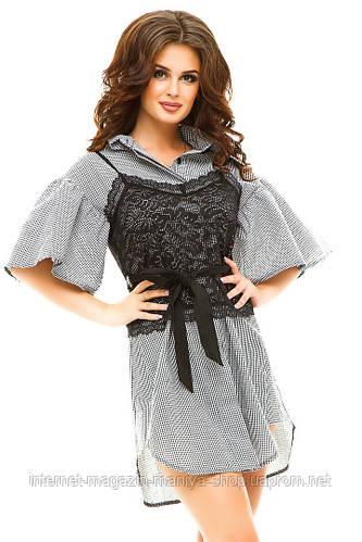 Платье-рубашка женское гипюр