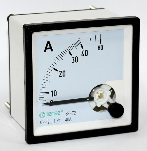 Амперметр прямого включения 40А TENSE панельный щитовой 72х72 стрелочный цена переме